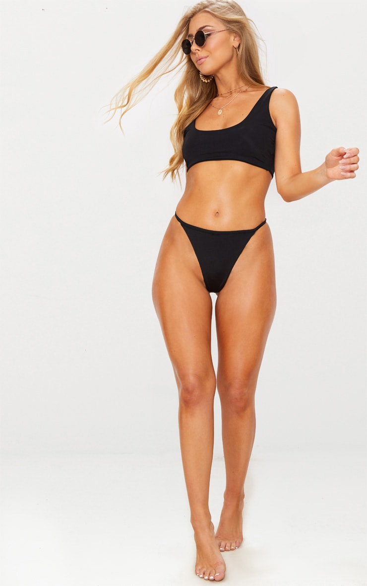 Black Mix & Match String Thong Bikini Bottom 4