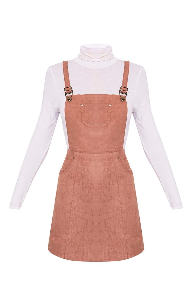 Lumie robe chasuble brun clair en imitation daim 3