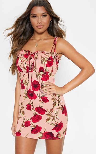 d5edeea561884 Dusty Pink Rose Printed Ruched Bodice Bodycon Dress