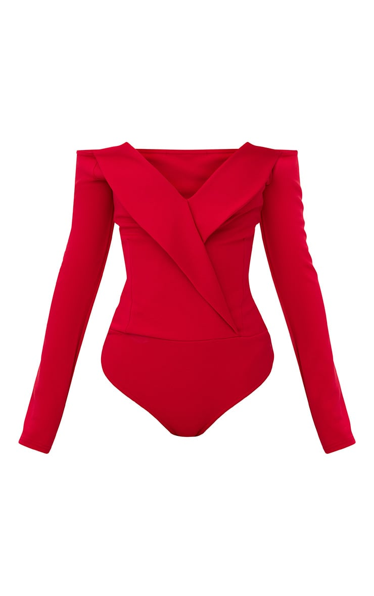 Red Tux Blazer Detail Bardot Bodysuit  3