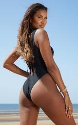 Black Lace Up Front Swimsuit 2