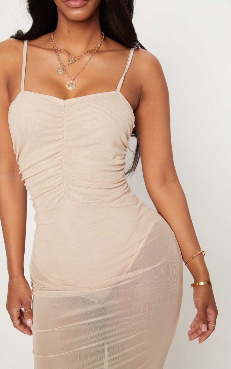 Shape Nude Mesh Ruched Strappy Midi Dress 4
