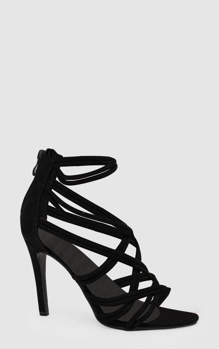 Black Multi Strap Heeled Sandal 3