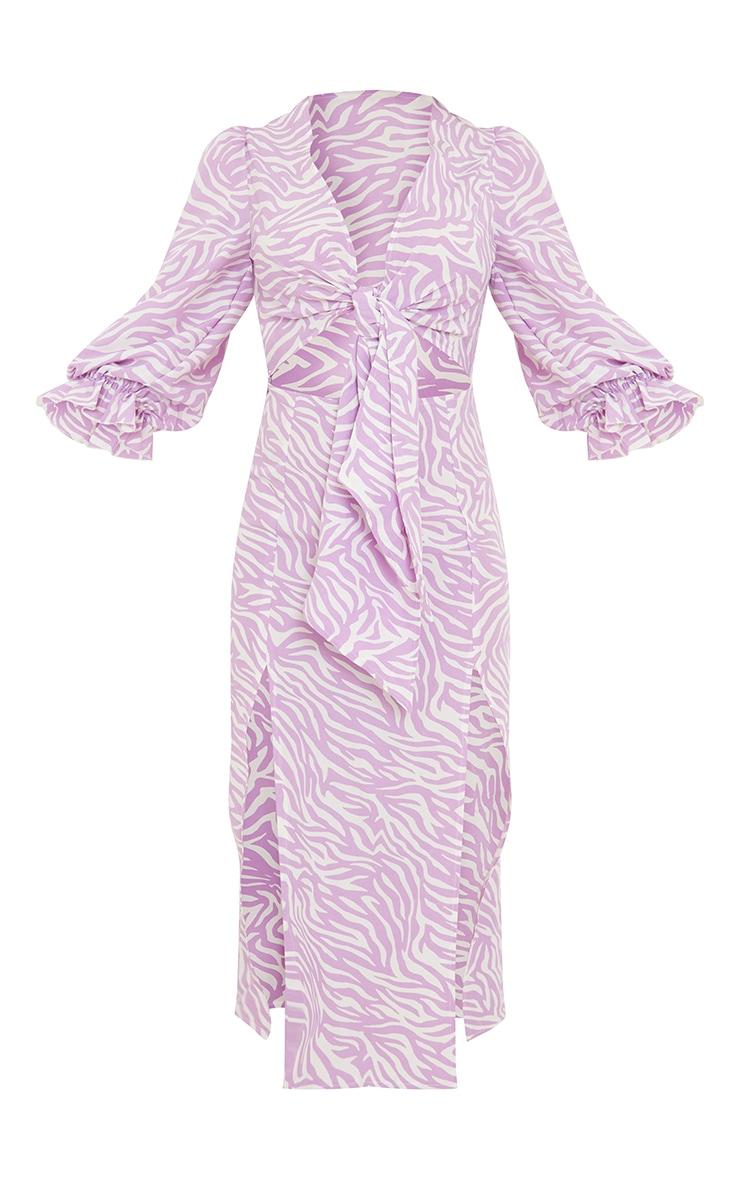 Lilac Zebra Print Tie Bust Split Detail Midi Dress 5