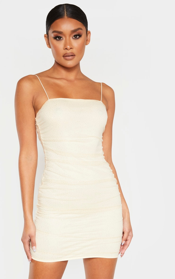 Nude Glitter Mesh Ruched Strappy Bodycon Dress