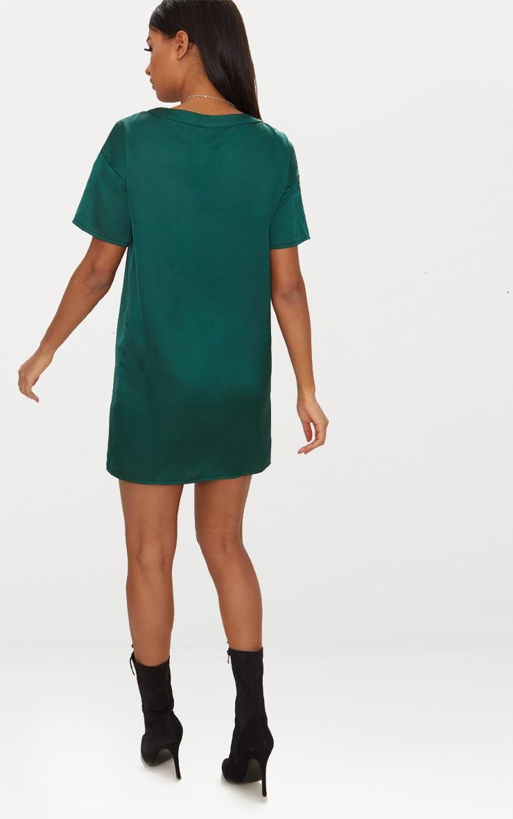 Emerald Green Satin T-shirt Dress 2