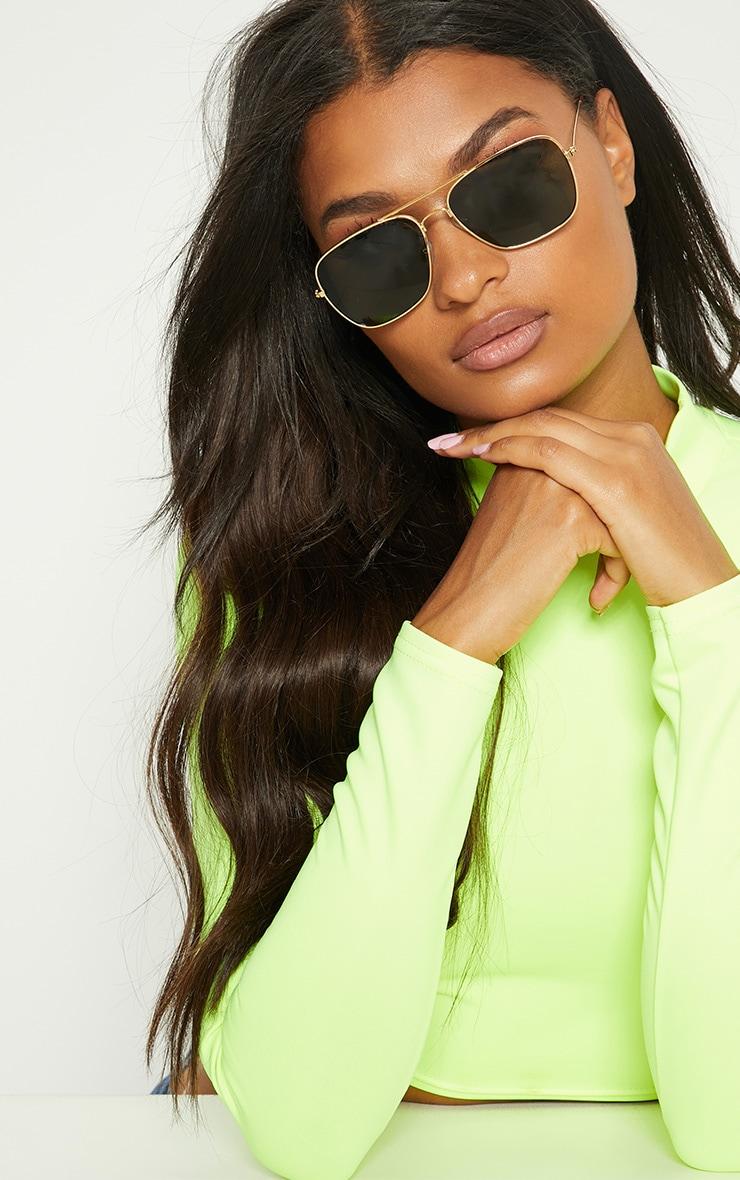 Gold Basic Square Metal Sunglasses 1