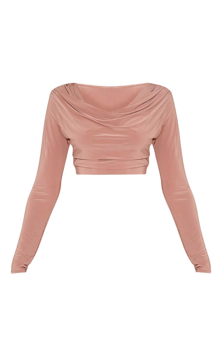 Amari Blush Cowl Neck Slinky Long Sleeve Crop Top 3