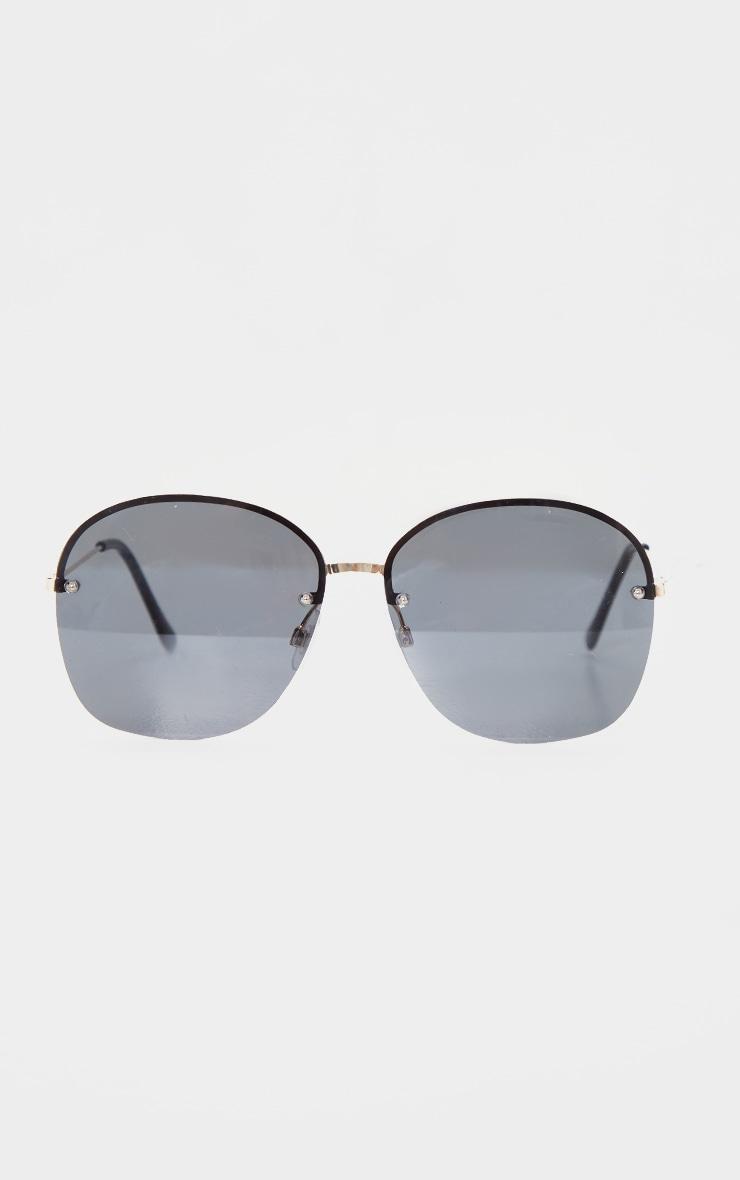 Black Rimless Round Sunglasses 3