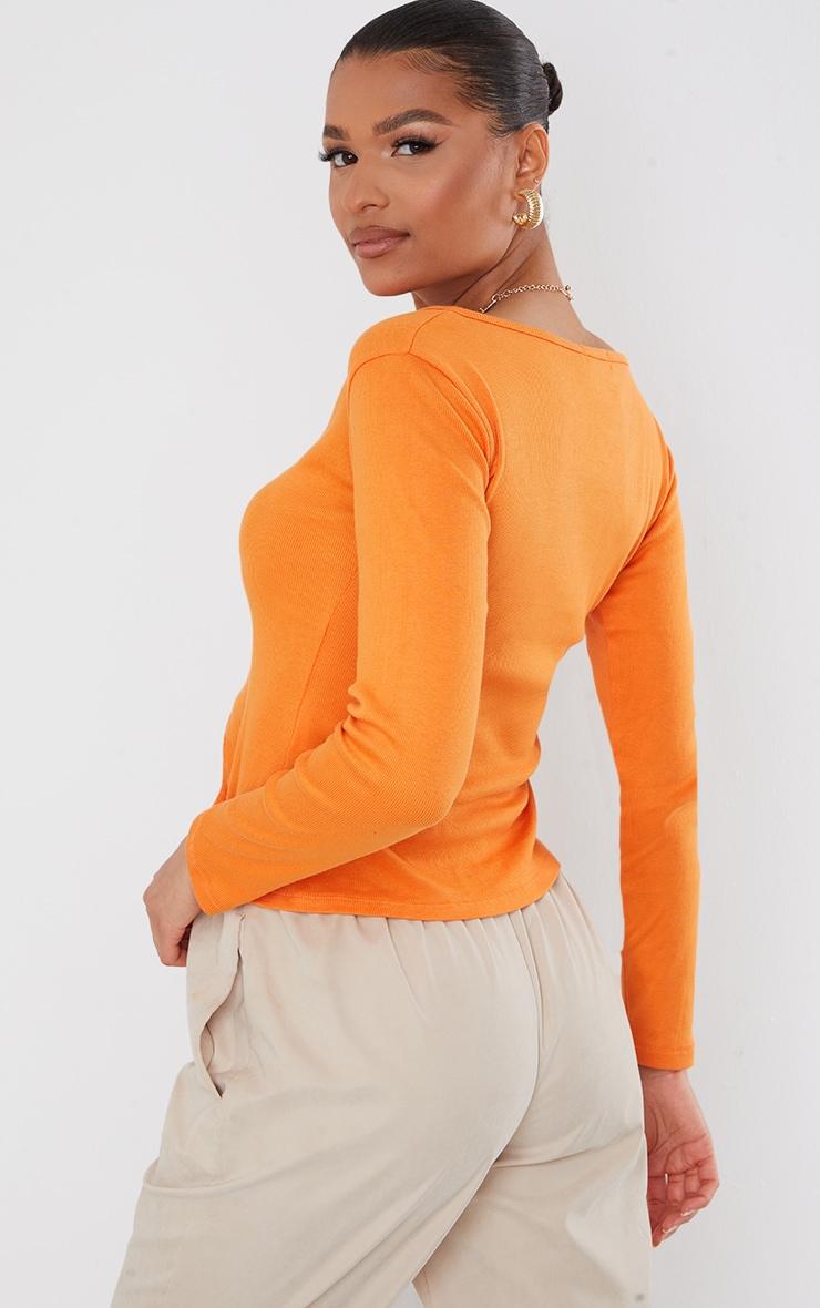 Orange Rib V Cut Out Long Sleeve Top 2