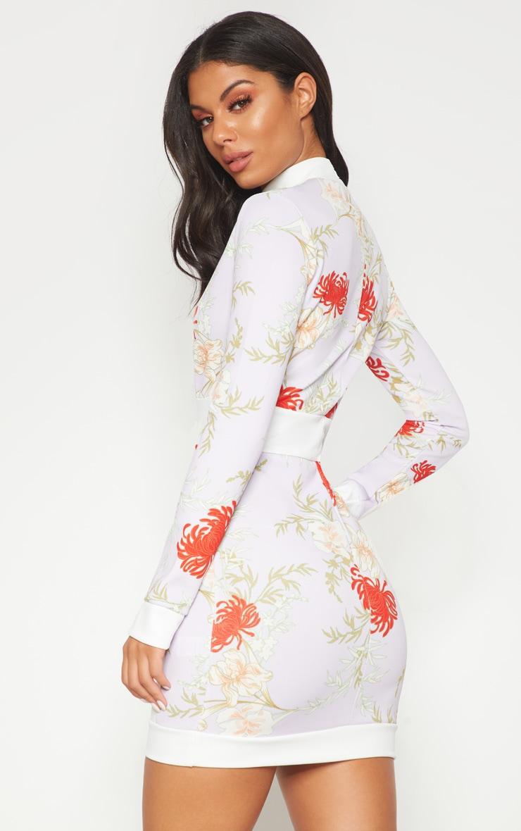 Lilac Oriental Contrast High Neck  Bodycon Dress  2