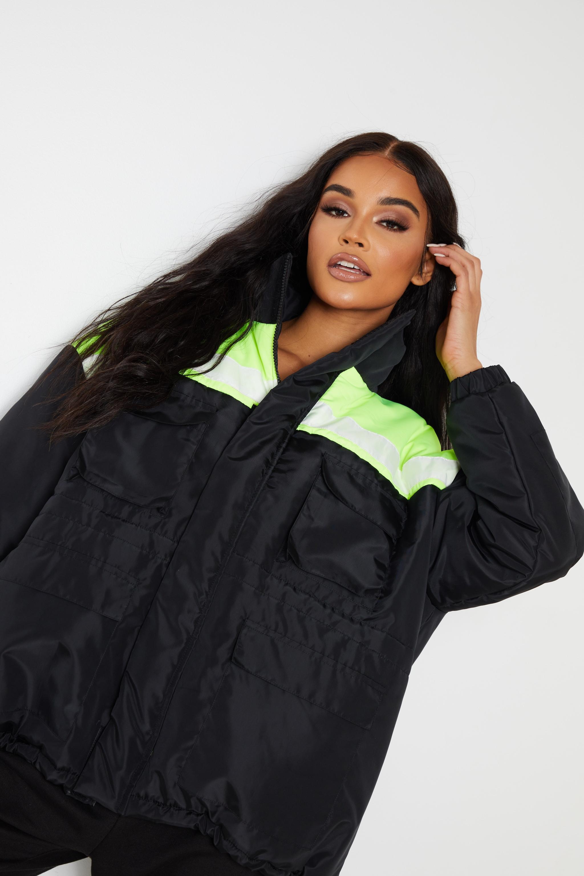 Black Padded Colour Block Jacket 5