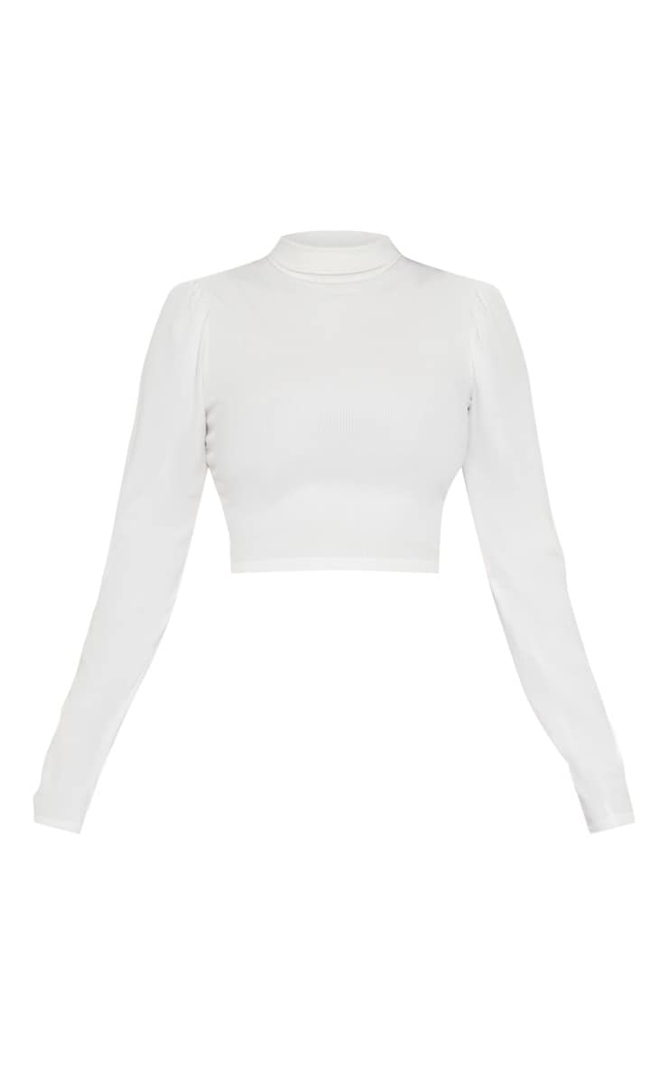 Cream Rib Roll Neck Puff Long Sleeve Crop Top 3