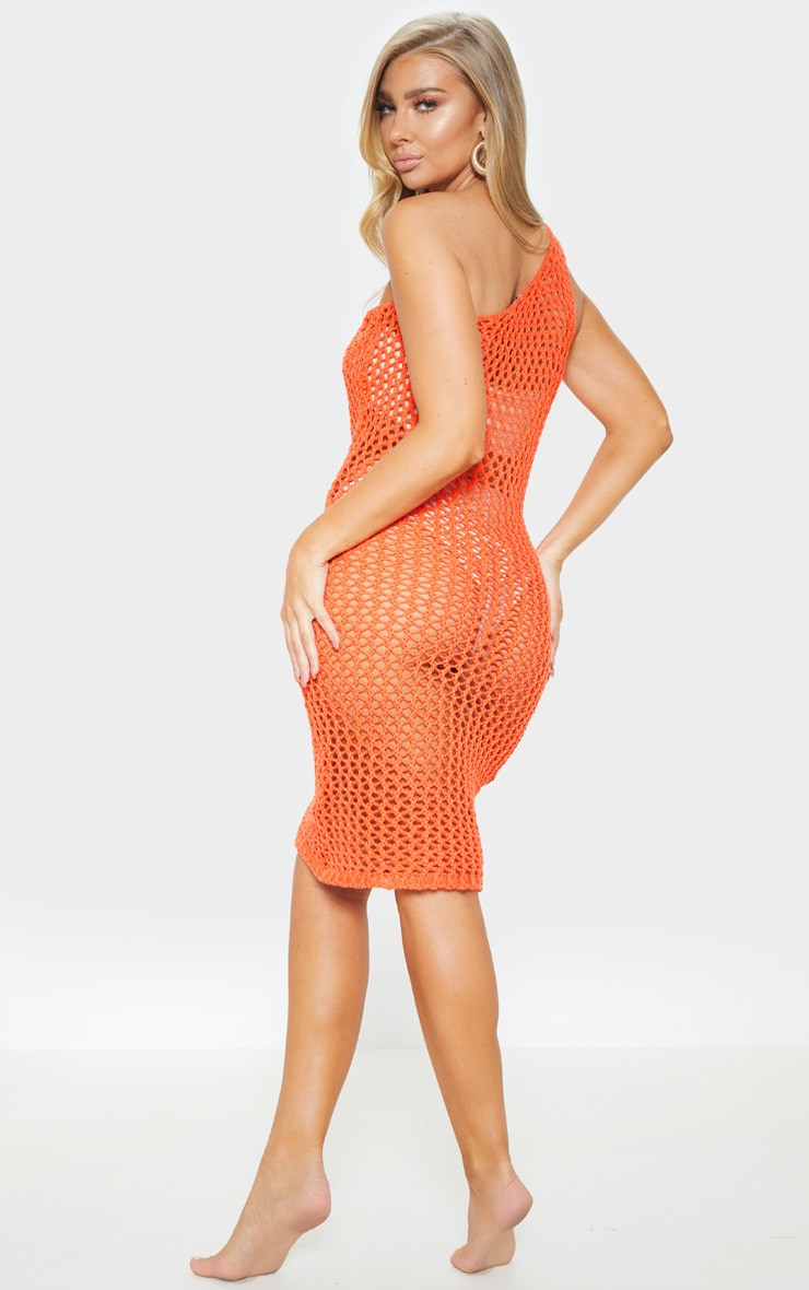 Orange Asymmetric Crochet Knit Dress 2