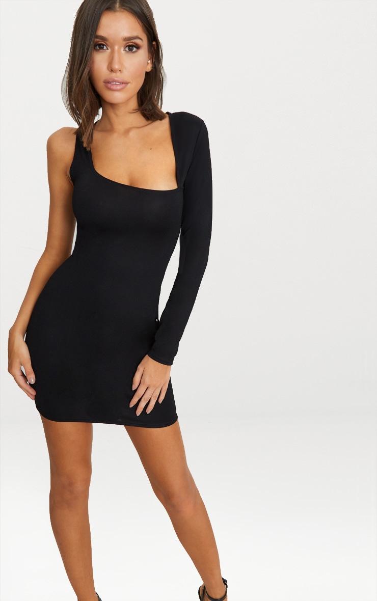 Black One Sleeve Asymmetric Neck Bodycon Dress 1 63abdadb5