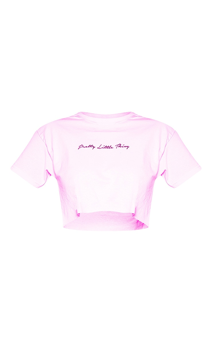 PRETTYLITTLETHING Petite - T-shirt court rose tendre à slogan 3