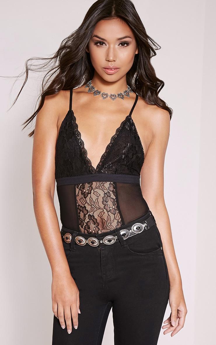 Sian Black Lace Panel Bodysuit 1