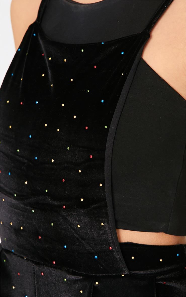 Herona Black Velvet Studded Pinafore Jumpsuit 3