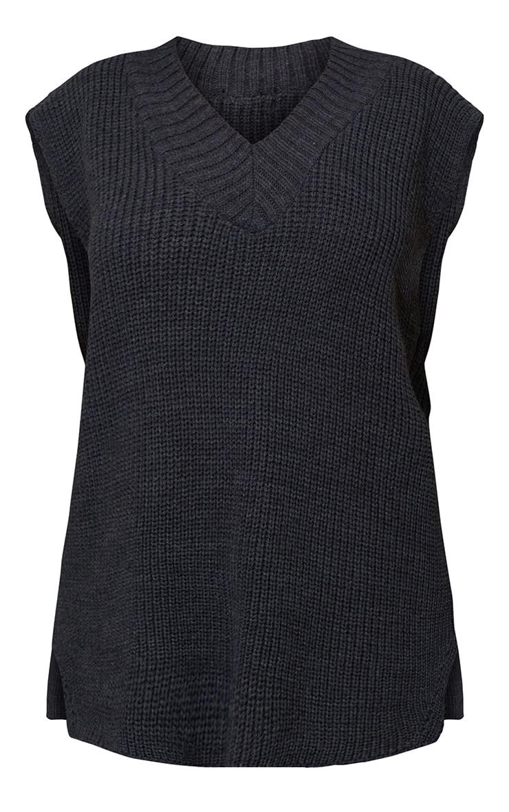 Charcoal V Neck Knitted Side Split Vest 5