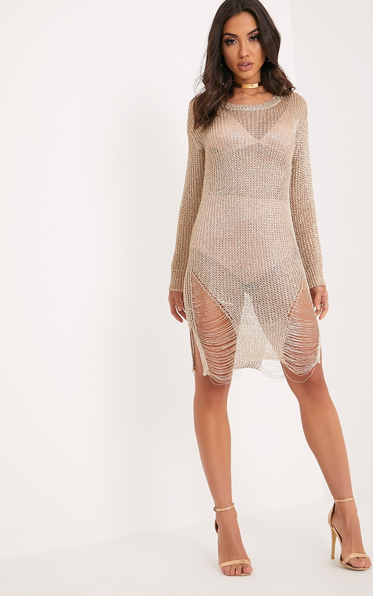 Yulissa Gold Metallic Knit Cobweb Distress Dress 4