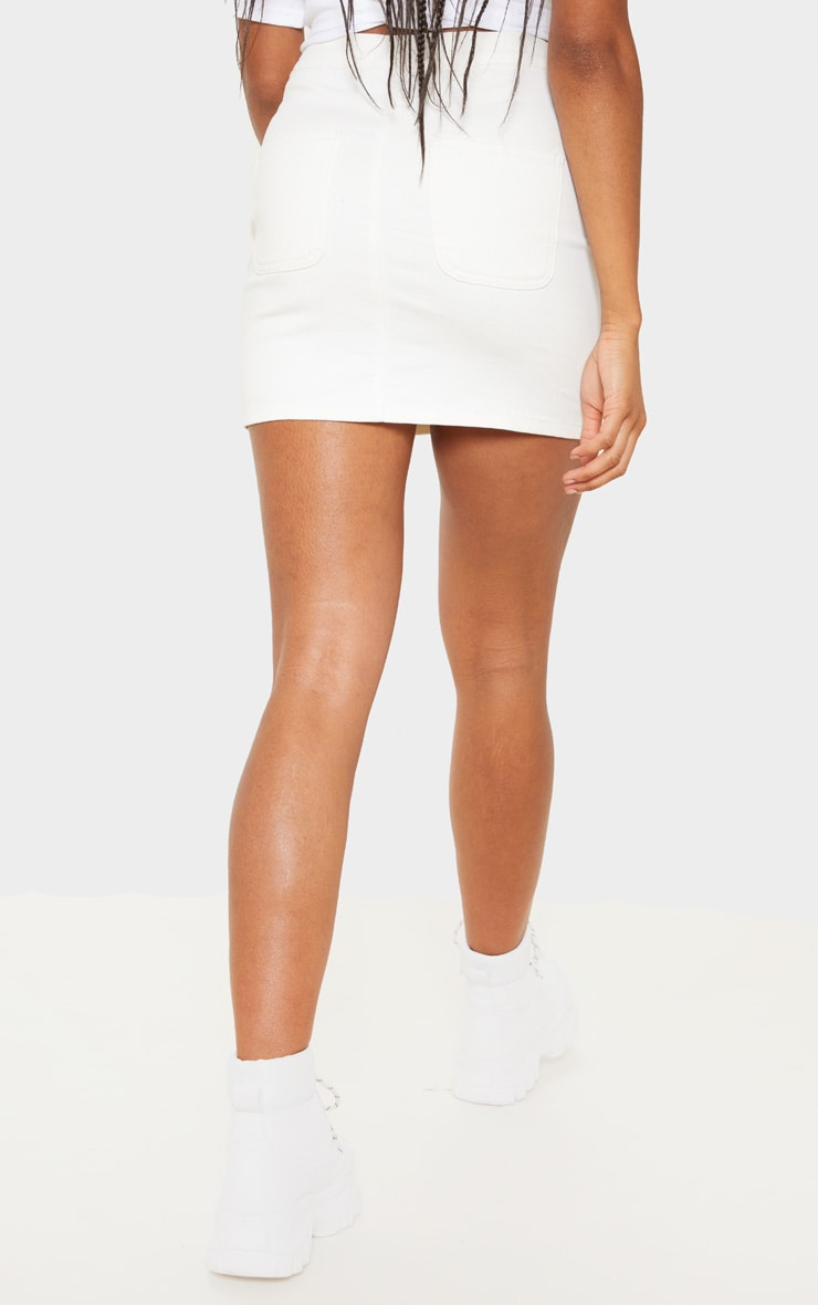 White Disco Fit Denim Skirt 4