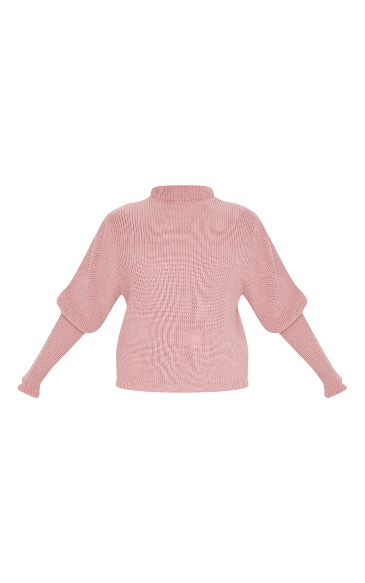 Dusty Pink Puff Sleeve Turtle Neck Jumper 5