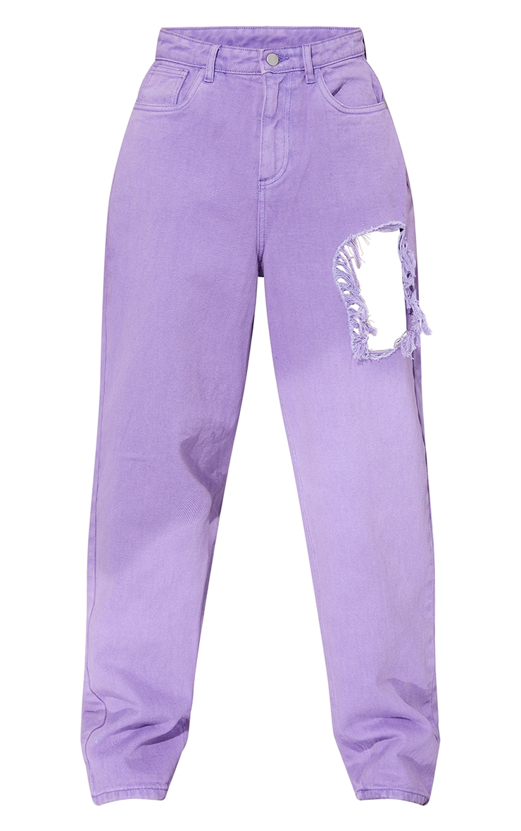 Purple Washed Thigh Ripped Boyfriend Jeans 5
