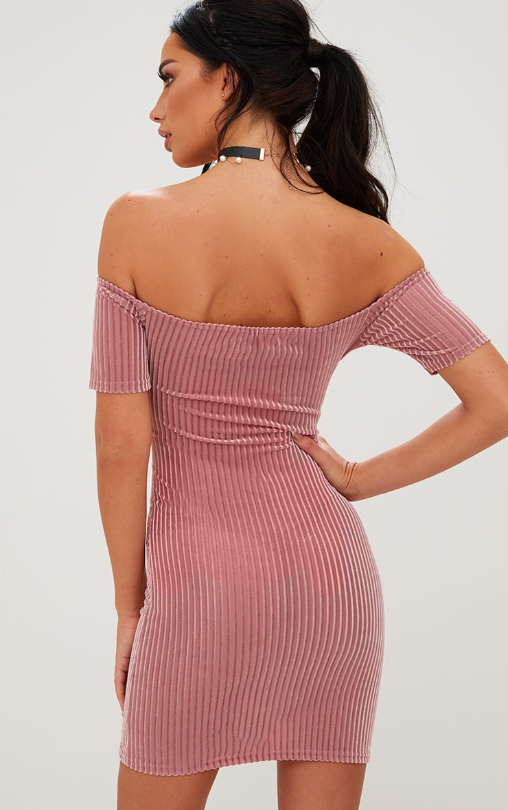 Rose Striped Velvet Bardot Bodycon Dress 2