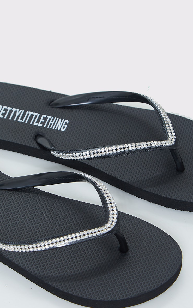 Black Diamante Toe Thong Flip Flop 4
