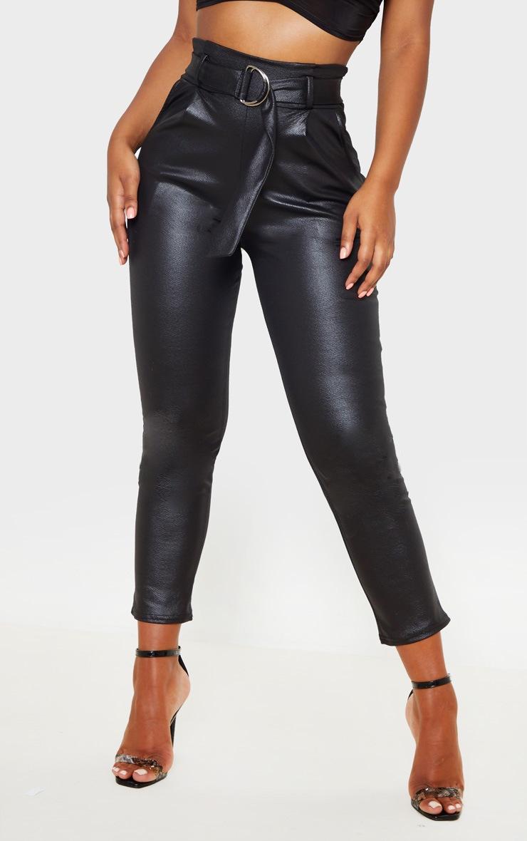 Black Wet Look D Ring Belted Skinny Pants 2