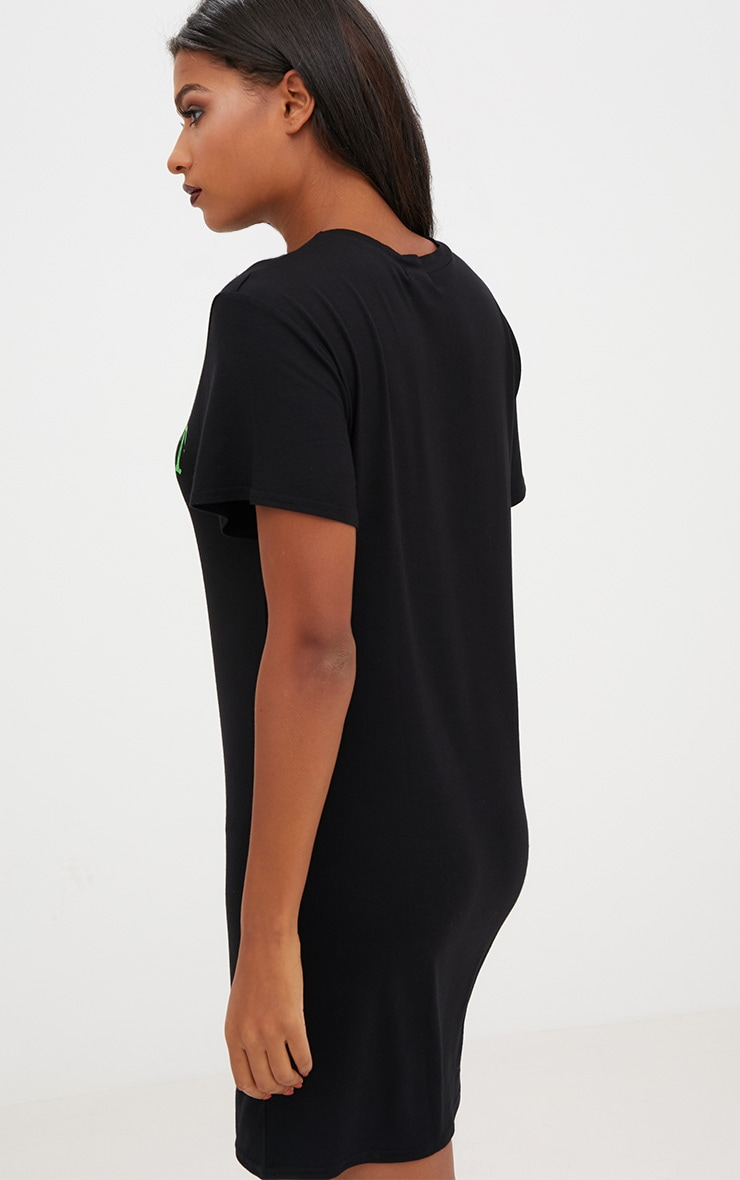 Black Jersey 'Trick Or Treat Yo Self' T Shirt Dress 2