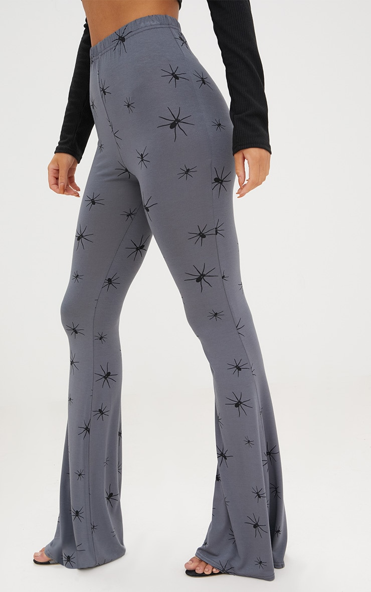 Grey Jersey Spider Print Flared Trousers 5