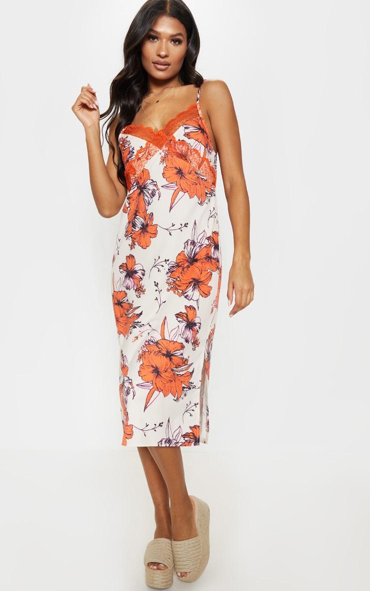 Orange Lace Trim Tropical Print Midi Shift Dress 1