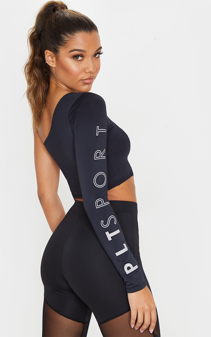 PRETTYLITTLETHING Black Long Sleeve Cropped Gym Top 2