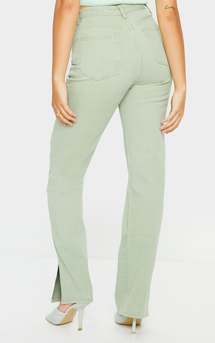 Sage Green Split Hem Jeans 3