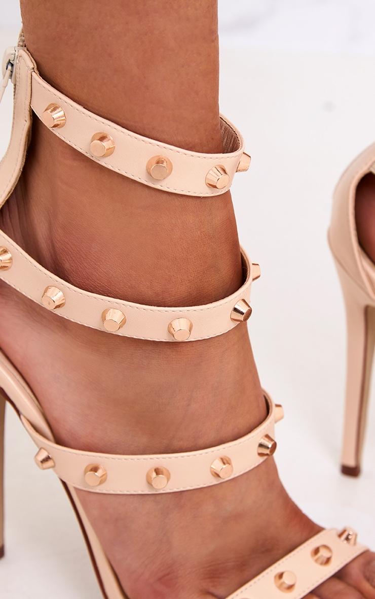 Latasha Nude Studded Strappy Heels 4
