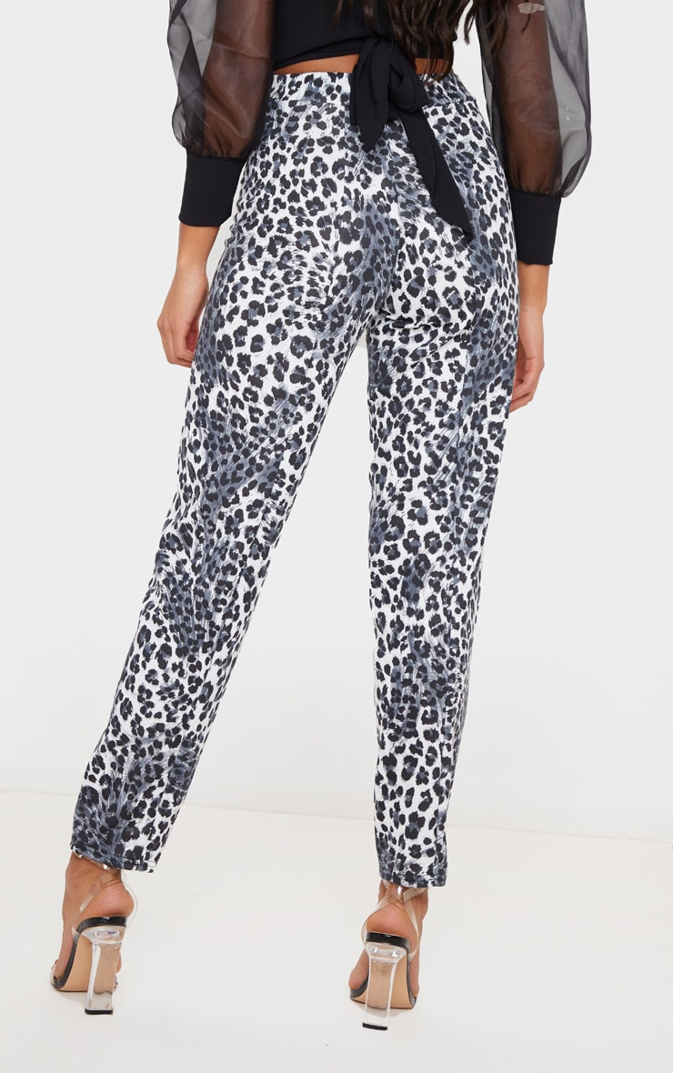 White Snow Leopard Skinny Pants 4