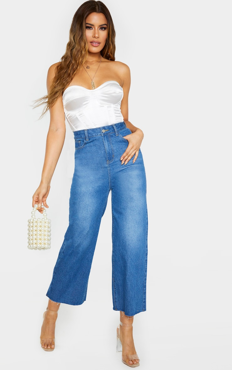 Tall Light Wash Wide Leg Cropped Jeans 1