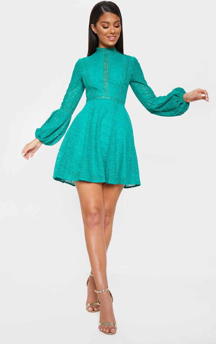 Green Lace Long Sleeve Skater Dress 4