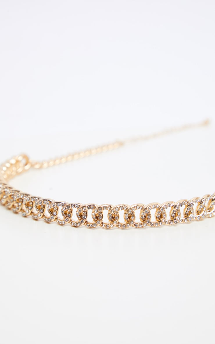 Gold Pave Solid Link Chain Choker 4