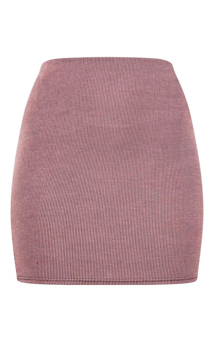 Pink Contrast Rib Mini Skirt 6