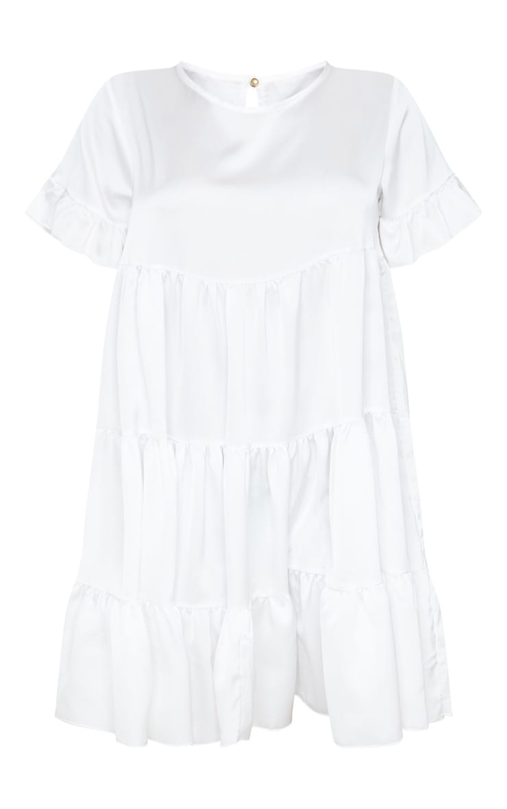 White Frill Sleeve Tiered Smock Dress 3