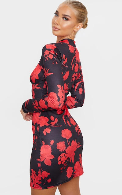 Black Floral Print Tie Neck Long Sleeve Bodycon Dress