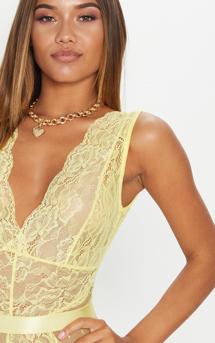 Yellow Lace Bodysuit 6