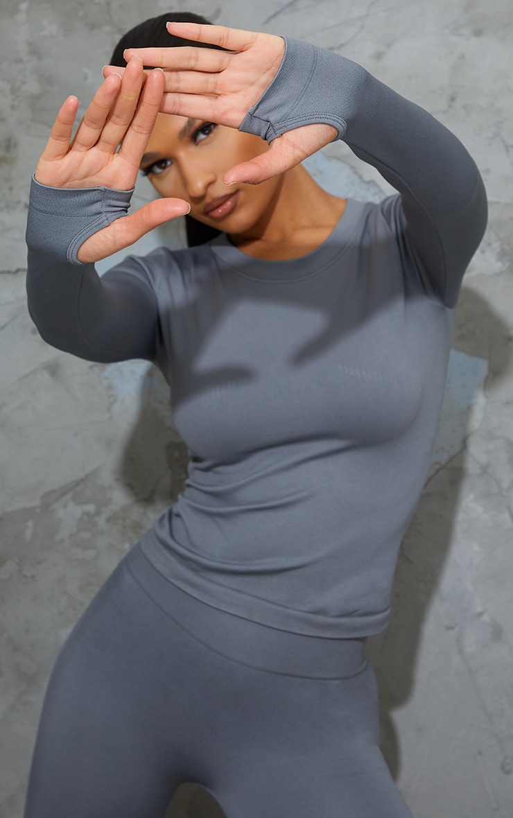 Grey Basic Detail Seamless Gym Top 1