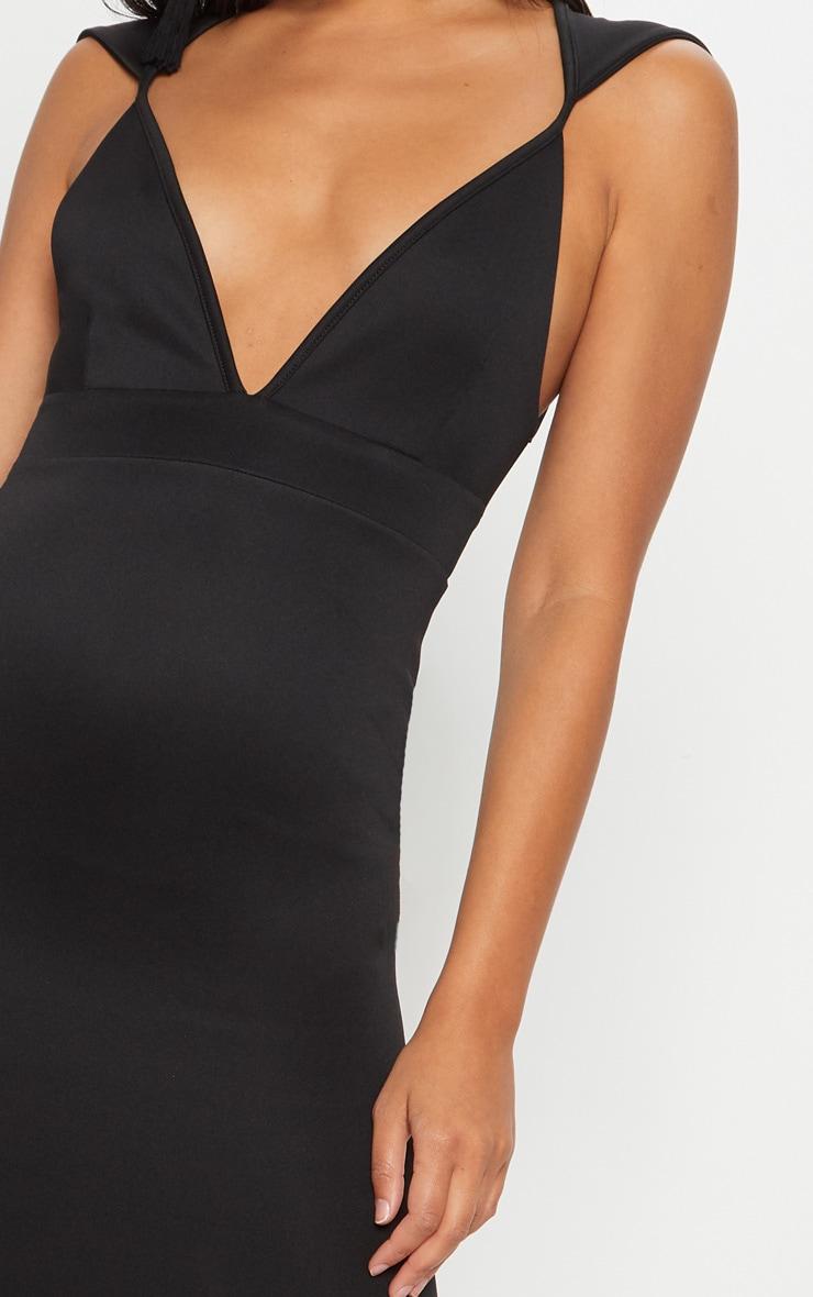 Black Extreme Plunge Shoulder Detail Fishtail Maxi Dress 5