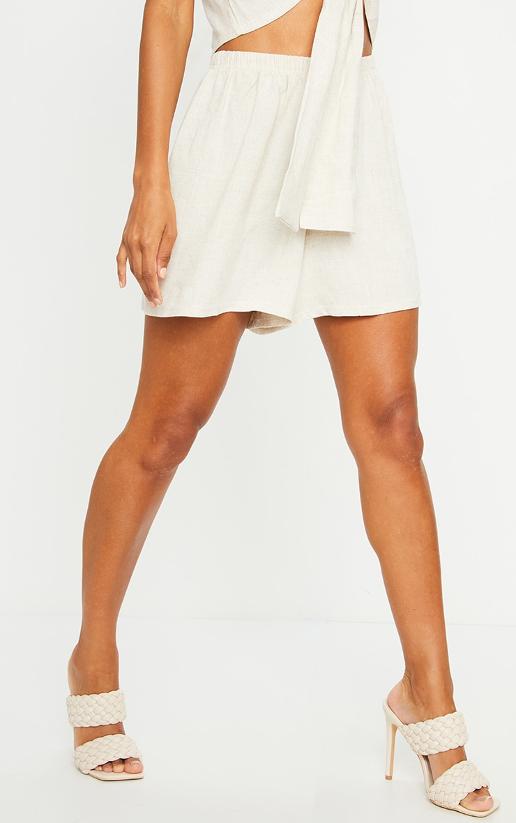 Stone Linen Feel High Waisted Shorts 2