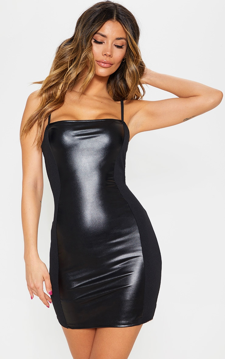 Black Strappy Faux Leather Panelled Dress 1