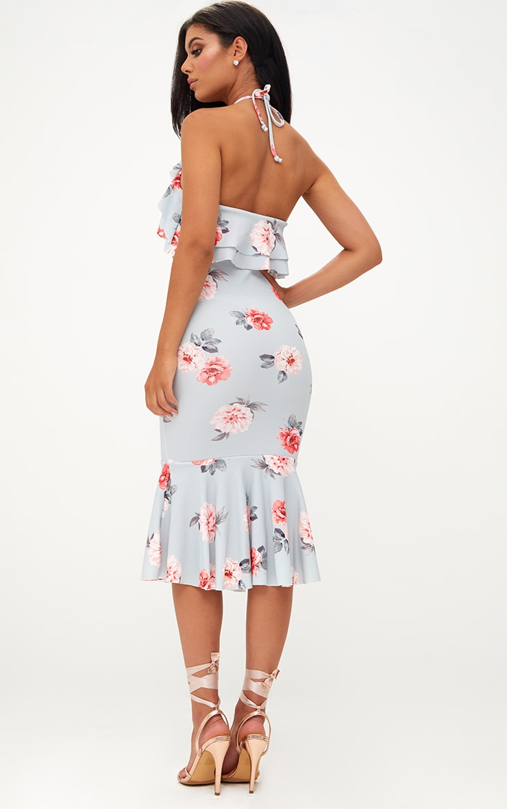Ice Grey Floral Halterneck Frill Detail Fishtail Midi Dress 2