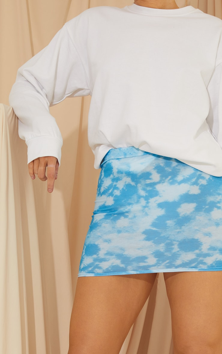 Blue Tie Dye Print Mini Skirt 4